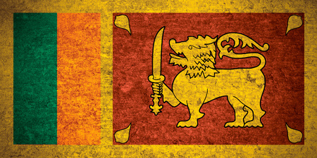 sri lankan flag: flag of Sri Lanka or Sri Lankan banner on old metal texture background