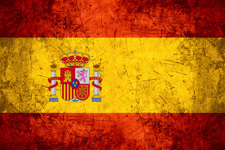 flag of spain: flag of Spain or Spanish banner on rough pattern metal background Stock Photo