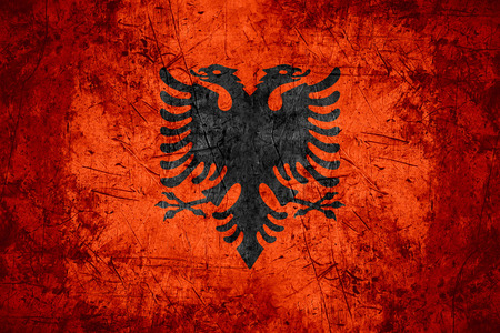 albanian: flag of Albania or Albanian banner on rough pattern metal background