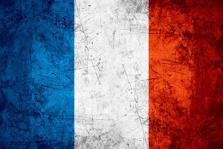 france: flag of France or French banner on rough pattern metal background