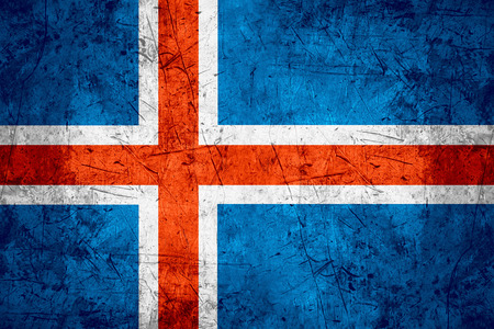 icelandic flag: flag of Iceland or Icelandic banner on rough pattern metal background