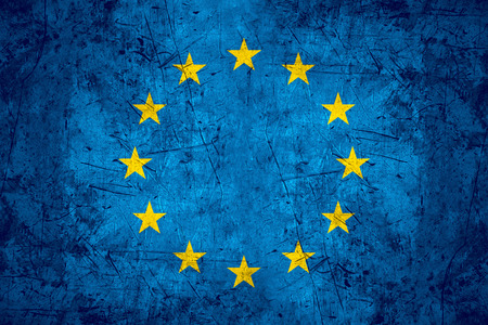 flag of European Union or Europe banner on rough pattern metal background