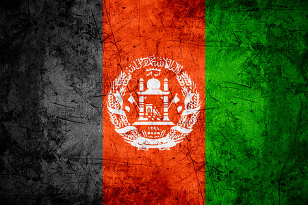afghan flag: flag of Afghanistan or Afghan banner on rough pattern metal background