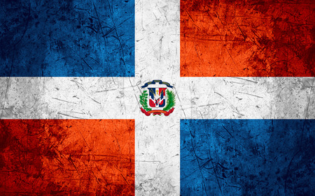 dominican: flag of Dominican or banner on rough pattern metal background