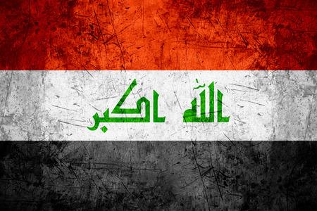 iraqi: flag of Iraq or Iraqi banner on rough pattern metal background