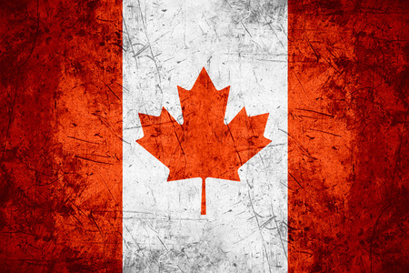 flag of Canada or Canadian banner on rough pattern metal background Standard-Bild