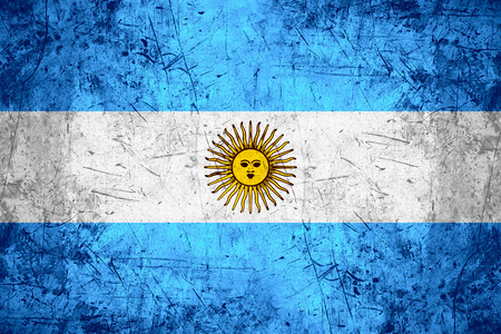 argentinian: flag of Argentina or Argentinian banner on rough pattern metal background Stock Photo