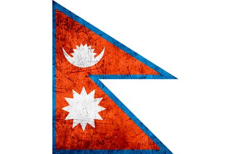 nepali: flag of Nepal or Nepali banner on rough pattern metal background