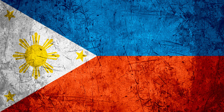 filipino people: flag of Philippines or Filipino banner on rough pattern metal background