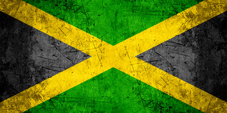 jamaican flag: flag of Jamaica or Jamaican banner on rough pattern metal background