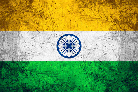 indian pattern: flag of India or Indian banner on rough pattern metal background Stock Photo