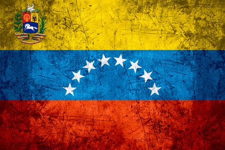 venezuelan: flag of Venezuela or Venezuelan banner on rough pattern metal background