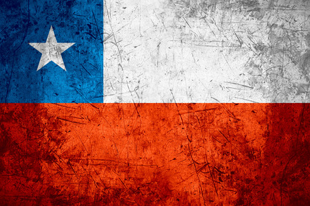 chilean flag: flag of Chile or Chilean banner on rough pattern metal background