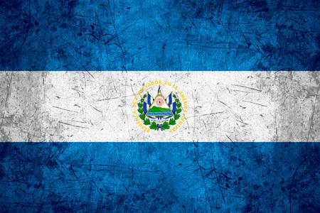 el salvadoran: flag of Salvador or Salvadoran banner on rough pattern metal background