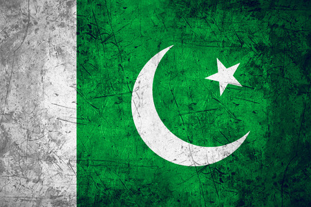 pakistani pakistan: flag of Pakistan or Pakistani banner on rough pattern metal background
