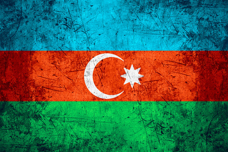 azerbaijanian: flag of Azerbaijan or Azerbaijanian banner on rough pattern metal background Stock Photo