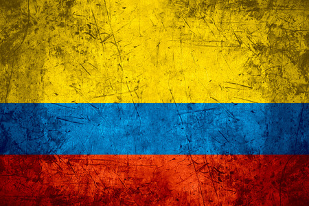 colombian flag: flag of Colombia or Colombian banner on rough pattern metal background
