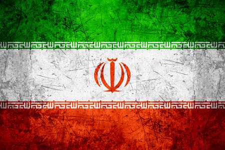 iranian: flag of Iran or Iranian banner on rough pattern metal background Stock Photo