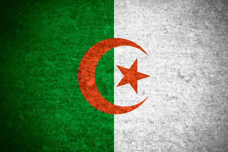 algerian: flag of  Algeria or  Algerian banner on old metal texture background