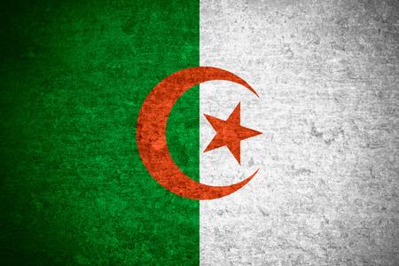 algerian flag: flag of  Algeria or  Algerian banner on old metal texture background