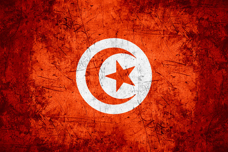 tunisian: flag of Tunisia or Tunisian banner on rough pattern metal background