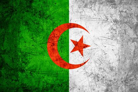algerian flag: flag of Algeria or Algerian banner on rough pattern metal background