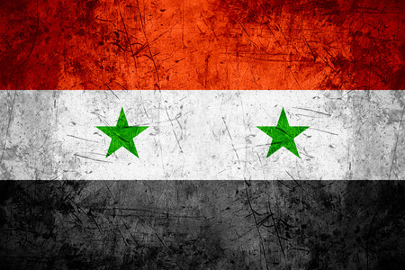 syrian: flag of Syria or Syrian banner on rough pattern metal background Stock Photo