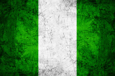nigerian: flag of Nigeria or Nigerian banner on rough pattern metal background