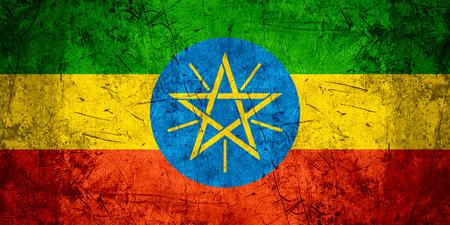 ethiopian: flag of Ethiopia or Ethiopian banner on rough pattern metal background