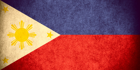 filipino: flag of Philippines,  or Filipino banner on paper rough pattern vintage texture Stock Photo