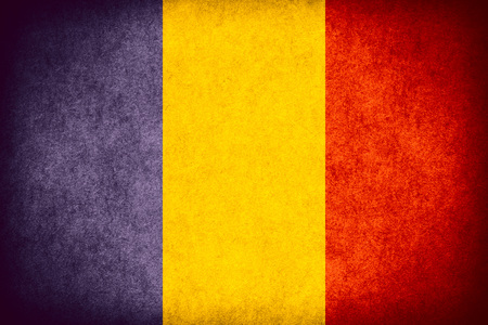 romanian: flag of Romania or Romanian banner on paper rough pattern  vintage texture Stock Photo