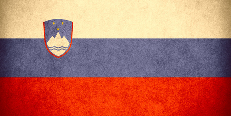 slovenian: flag of Slovenia or Slovenian banner on paper rough pattern vintage texture