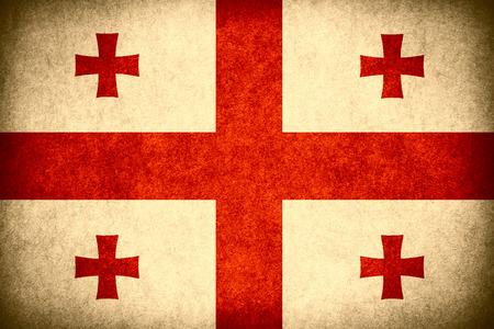 georgian: flag of Georgia or Georgian banner on paper rough pattern vintage texture