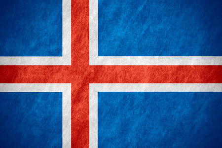 icelandic flag: flag of Iceland or Icelandic banner on canvas texture