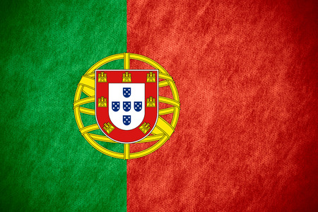 portuguese: flag of Portugal or Portuguese banner on canvas texture