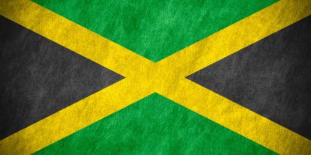 jamaican flag: flag of Jamaica or Jamaican banner on canvas texture