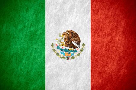 Drapeau du Mexique ou de la bannière mexicaine sur toile texture Banque d'images - 48851602