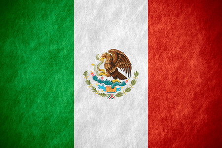 flag of Mexico or Mexican banner on canvas texture Stock Photo