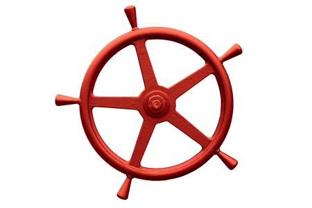 red metal steering wheel isolated on white background Zdjęcie Seryjne