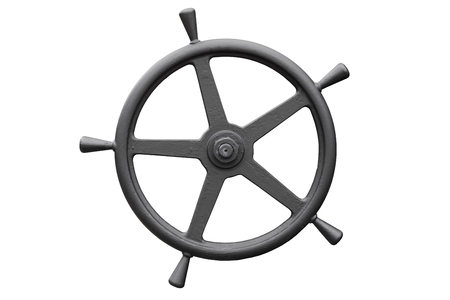 balck metal steering wheel isolated on white background