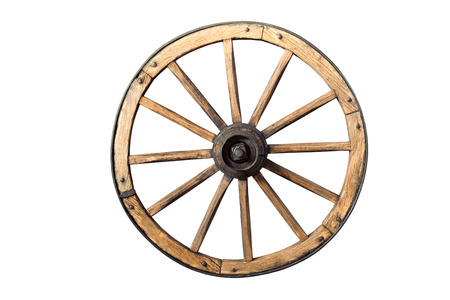 old wooden wheel isolated on white background
