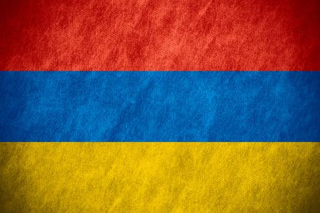 armenian: flag of Armenia or Armenian banner on canvas texture