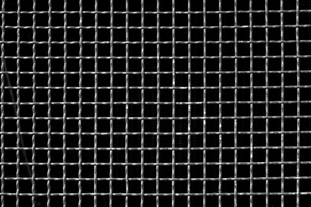 grille: grey metal grid on black background or grille pattren texture Stock Photo