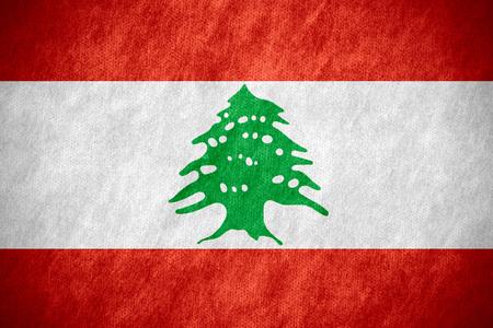 lebanese: flag of Lebanon or Lebanese banner on canvas texture