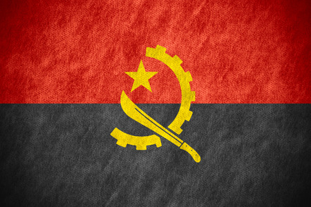 angola: flag of Angola or Angolan banner on canvas texture Stock Photo
