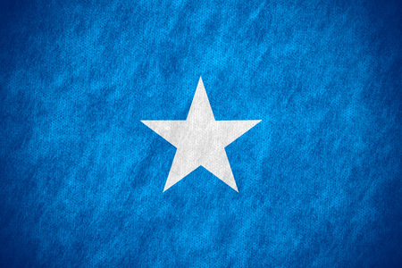 somalian: flag of Somalia or Somalian banner on canvas texture Stock Photo