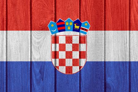 croatian: flag of Croatia or Croatian banner on wooden background Stock Photo