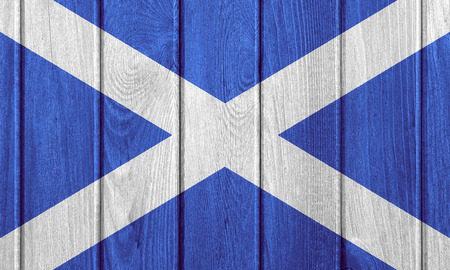 scotch: flag of Scotland or Scotch banner on wooden background