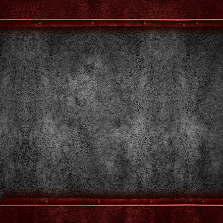 margins: black abstract background or rust steel texture with red margins