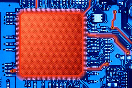 printed: blue and red printed circuit board or computer technology background